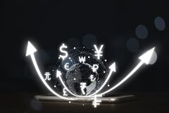 Free Virtual World With Connection Line And Currency Include Dollar Euro Yen Pound Sterling And Yuan On Smartphone , Money Transfer Royalty Free Stock Image - 217094306