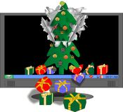 Virtual Xmas tree with gifts. Screen saver of an Xmas tree and presents breaks out of screen and gifts are falling out, in the virtual to reality screen saver Stock Photography