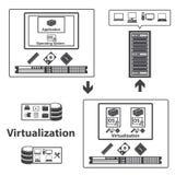 Virtualisatie gegevensverwerking en gegevensbeheer concept Vector Stock Afbeelding