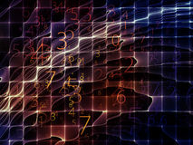 Virtualization of Energy Field. Virtual Field series. Background design of space ripples and numbers on the subject of math, science, research and modern stock photos