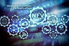 Virtualization för NFV-nätverksfunktion Begrepp för faktiska maskiner för arkitekturteknologier stock illustrationer
