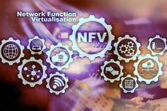 Virtualization för NFV-nätverksfunktion Begrepp för faktiska maskiner för arkitekturteknologier vektor illustrationer