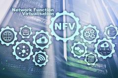 Virtualization f?r NFV-n?tverksfunktion Begrepp f?r faktiska maskiner f?r arkitekturteknologier royaltyfri illustrationer