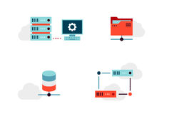 Virtualization Vector Icons Set Royalty Free Stock Photography