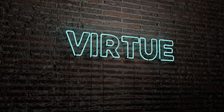 VIRTUE -Realistic Neon Sign on Brick Wall background - 3D rendered royalty free stock image. Can be used for online banner ads and direct mailers Stock Photography