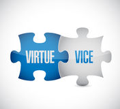 Virtue and vice puzzle pieces sign. Illustration design over white Royalty Free Stock Photography