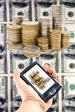 Virtueel geld in handbediend royalty-vrije stock foto's