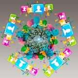 Virtueel pictogram van sociaal netwerk Stock Afbeelding