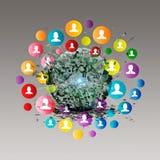 Virtueel pictogram van sociaal netwerk Stock Afbeeldingen