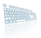 Virtueel toetsenbord in perspectief Stock Foto's