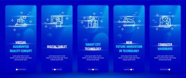 Virtueel vergroot werkelijkheidsconcept, Digitale tablet, Slimme stadstechnologie, Nieuwe toekomstige innovatie in technologie, C stock illustratie
