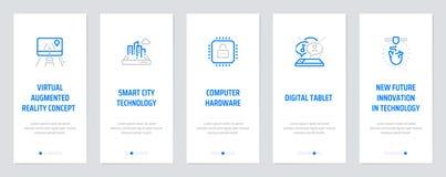 Virtueel vergroot werkelijkheidsconcept, Slimme stadstechnologie, Computerhardware, Digitale tablet, Nieuwe toekomstige innovatie stock illustratie