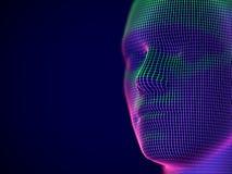 Virtueel werkelijkheid of cyberspace concept: wireframe van mannelijk gezicht royalty-vrije illustratie