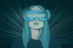 Virtueel werkelijkheid en interfaceconcept Stock Afbeelding