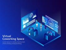 Virtuele Co-Werkende Ruimte, Isometrische illustratie van bedrijfspeo Royalty-vrije Stock Afbeelding