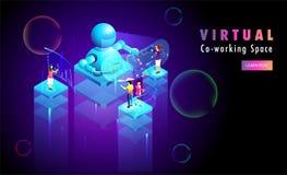 Virtuele Co-Werkt of Ver werkend concept gebaseerd Webmalplaatje Royalty-vrije Stock Fotografie