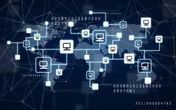 Virtuele computernetwerk en wereldkaart stock afbeeldingen