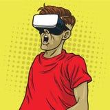 Virtuele de Glazen Retro Science fiction van de Werkelijkheidsbeschermende bril Pop Art Yellow Royalty-vrije Stock Afbeelding