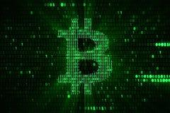 Virtuele groene crypto van het bitcoinsymbool digitale munt op groene ma vector illustratie