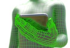 Virtuele mens die realistische smartphone geïsoleerde 3d illustratie houden Royalty-vrije Stock Fotografie
