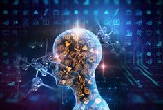 Virtuele menselijke 3dillustration op bedrijfs en het leren technologie Stock Fotografie