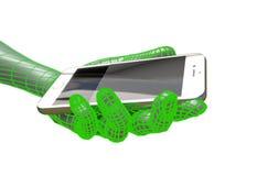 Virtuele mensenhand die realistische smartphone geïsoleerde 3d illustratie houden Royalty-vrije Stock Afbeeldingen