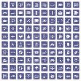 100 virtuele pictogrammen geplaatst grunge saffier Stock Afbeeldingen