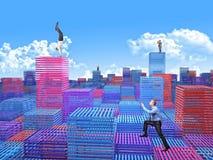 Virtuele stad Stock Afbeeldingen