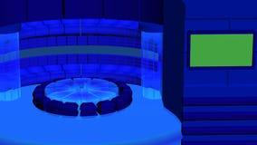 Virtuele TV-nieuws radiale achtergrond met donkerblauwe kristalcilinders royalty-vrije stock fotografie