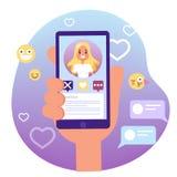 Virtuele verhouding en liefdedialoog Communicatie tussen mensen vector illustratie