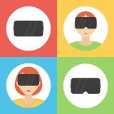 Virtuele vlakke geplaatste het ontwerppictogrammen van werkelijkheidsglazen Stock Foto