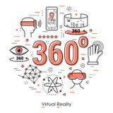 Virtuele Werkelijkheid 360 - Rode Lijn Art Concept Royalty-vrije Stock Foto
