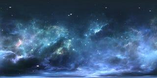 Virtuele werkelijkheids stellaire systeem en nevel Panorama, milieu 360 HDRI-kaart Equirectangularprojectie, sferisch panorama stock illustratie