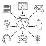 Virtuele werkelijkheidsbeschermende brillen, reeks lineaire pictogrammen Stock Afbeeldingen