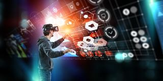 Virtuele werkelijkheidservaring Technologie?n van de toekomst royalty-vrije stock foto