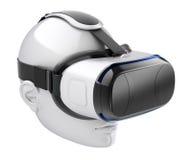 Virtuele werkelijkheidshoofdtelefoon op wit menselijk hoofd Royalty-vrije Stock Fotografie