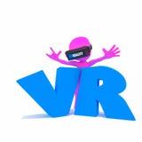 virtuell verklighet för folk 3d Royaltyfria Bilder