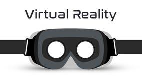 Virtuell verklighet rullar med ögonen VR-hörlurar med mikrofonvektorn royaltyfri fotografi