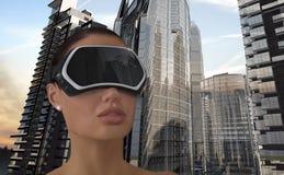 Virtuell verklighetbegrepp Arkivfoton