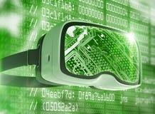 Virtuell verklighetexponeringsglas, futuristisk en hacker, internetteknologi och nätverksbegrepp Royaltyfri Fotografi