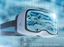 Virtuell verklighetexponeringsglas, futuristisk en hacker, internetteknologi och nätverksbegrepp Royaltyfri Foto