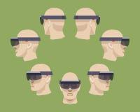 Virtuell verklighethörlurar med mikrofon Arkivbilder