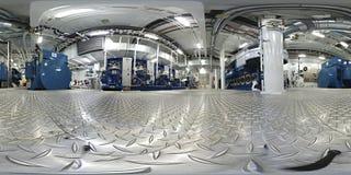 Virtuell verklighetinsida för 360 VR av en aboa för motormaskineriutrymmen arkivbilder