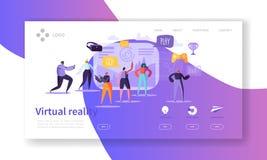 Virtuell verklighetlandningsida Ökat verklighetbaner med den plana mallen för folkteckenWebsite Lätt att redigera royaltyfri illustrationer