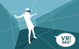 Virtuell verklighetrum med kvinnan och exponeringsglas 3D stock illustrationer