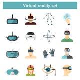 Virtuell verklighetsymbolsuppsättning i plan stil Arkivfoton