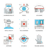 Virtuell verklighetteknologilinje symbolsuppsättning Arkivbilder