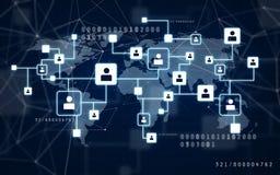 Virtuelle Ikonen des Sozialen Netzes über Weltkarte stockfotos
