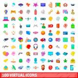 100 virtuelle Ikonen eingestellt, Karikaturart Lizenzfreie Stockfotografie