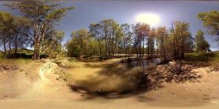 Virtuelle Realität UHD 4K 360 VR von einem Fluss fließt über Felsen in schöne Gebirgswaldlandschaft stock video
